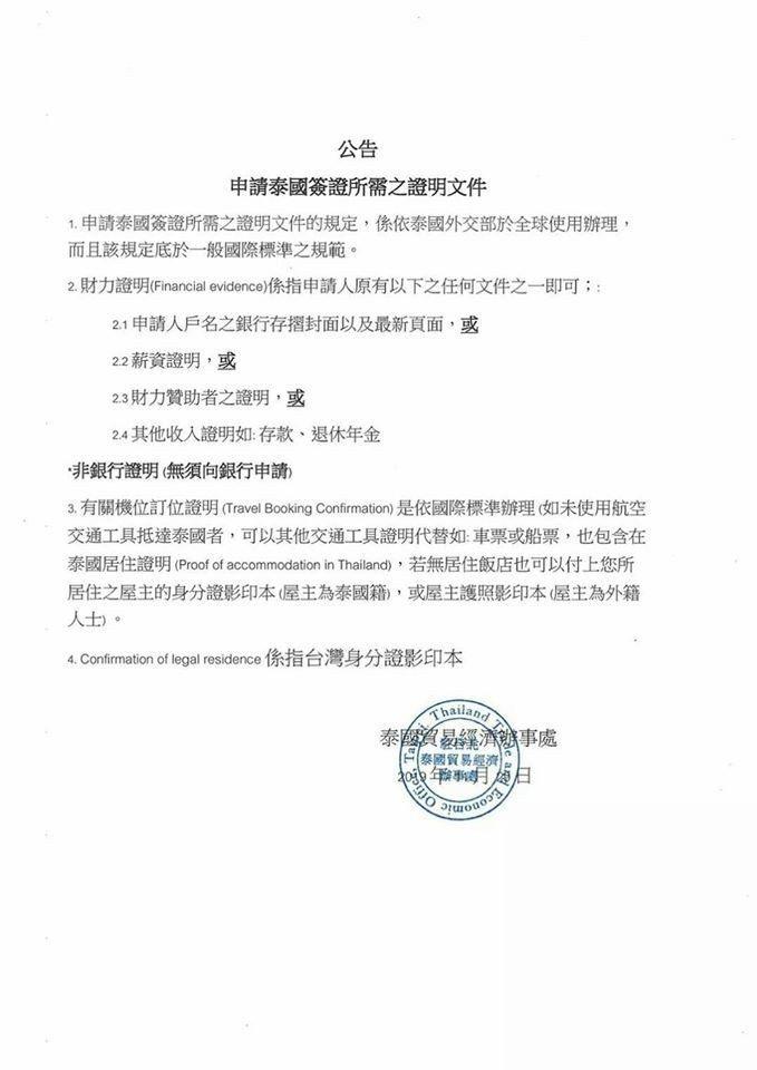 未來自行申辦泰簽者須附上「財力證明」。圖/摘自泰國經貿辦事處