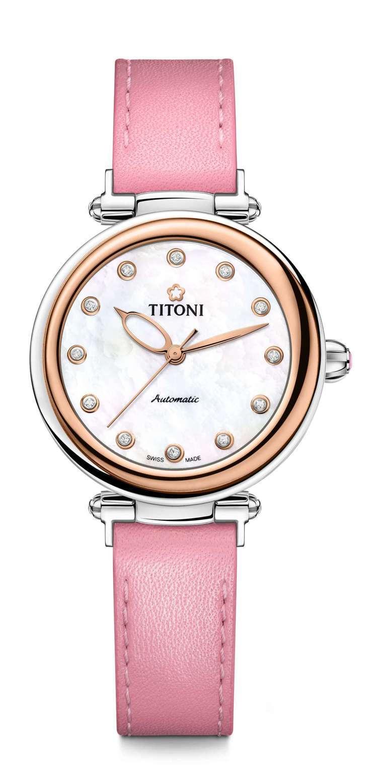 Titoni Miss Lovely快拆系列腕表,不鏽鋼表殼搭配18K玫瑰金PV...