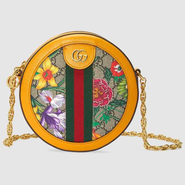 Ophidia系列Flora經典花卉圖騰迷你肩背包,52,800元。圖/Gucc...