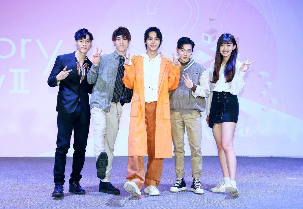 夏得(左起)、夏恩、石承鎬、孫英豪、紀欣伶出席HIStory party。圖/L...