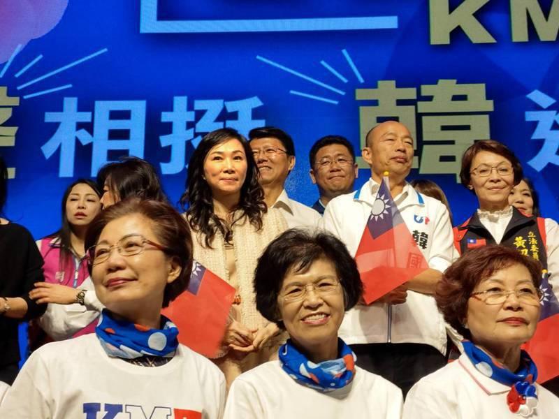 國民黨總統參選人韓國瑜參選總統後與夫人李佳芬首度同台。記者劉宛琳/攝影