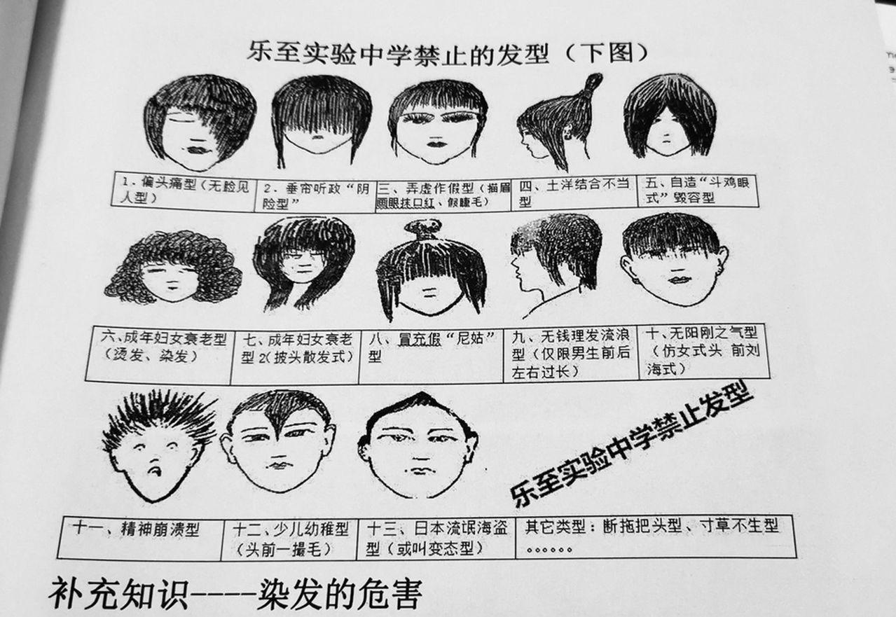 樂至實驗中學的禁止髮型圖冊局部,漫畫加上搞笑說名引人發噱。 圖/取自微博