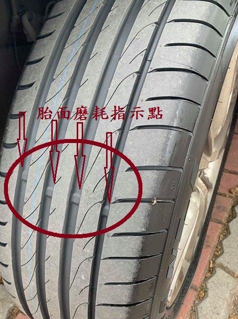 車胎上有凸出的橡膠塊,當胎面摩擦到橡膠塊時,意謂輪胎已達磨耗限度。圖/旗山監理站...