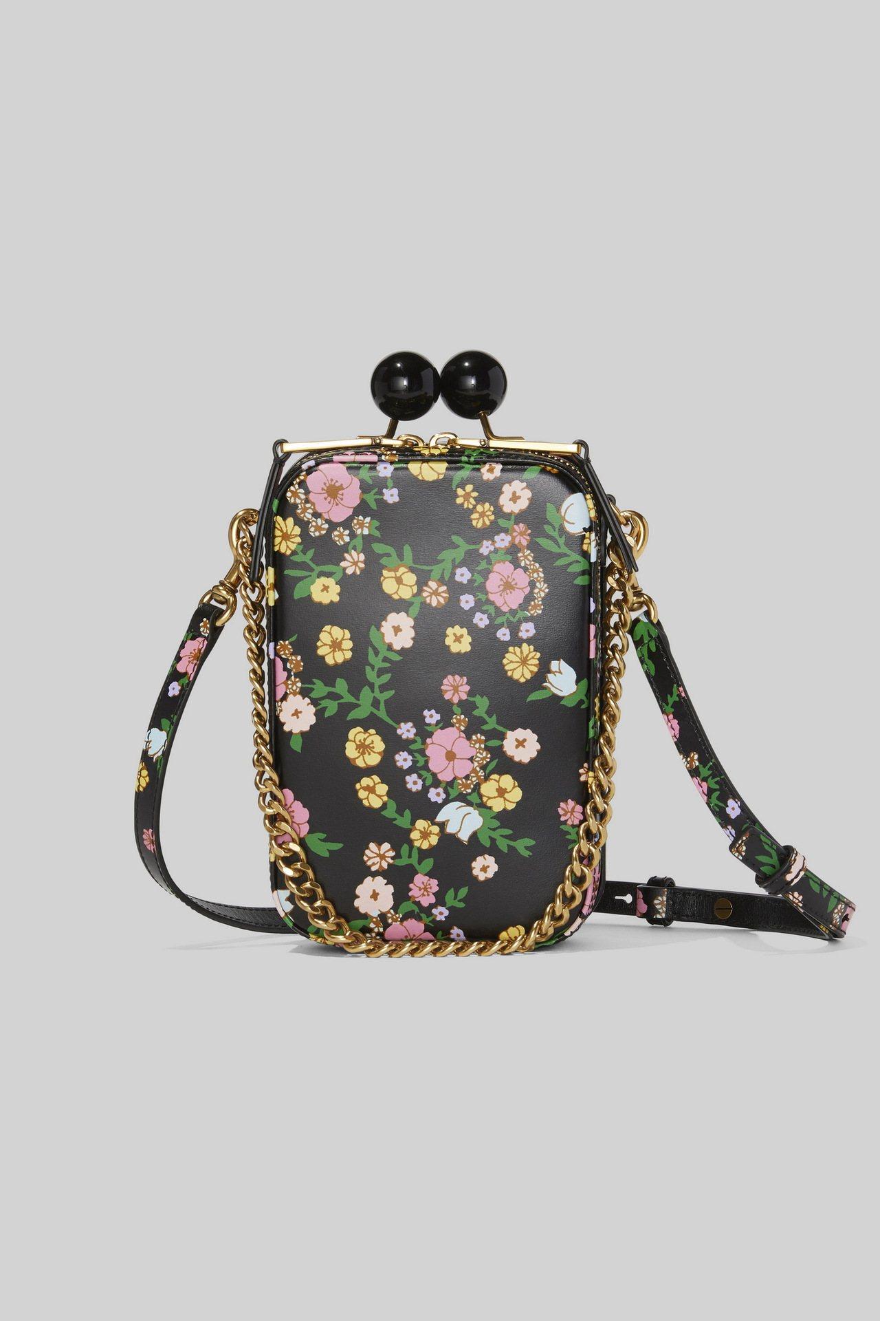 花卉印花復古長型圓珠釦包,24,900元。圖/Marc Jacobs提供