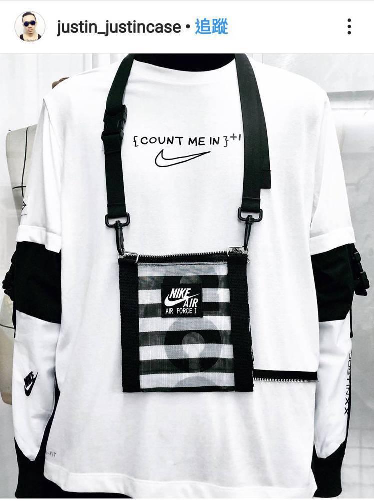 台灣設計師周裕穎在社群平台秀出自己設計的運動袋。圖/摘自justinxx_off...