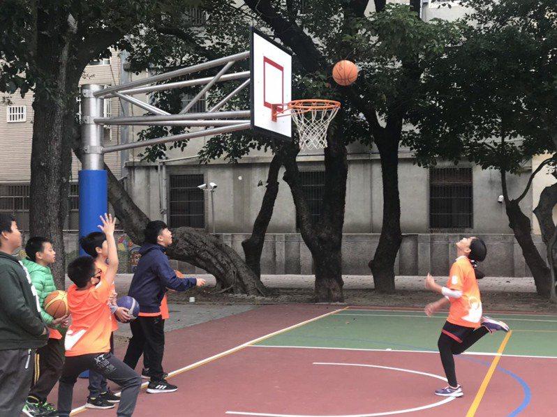 新竹國小現在有2座籃球場,可以同時成為籃球、躲避球與樂樂足球的使用場地。圖/教育處提供