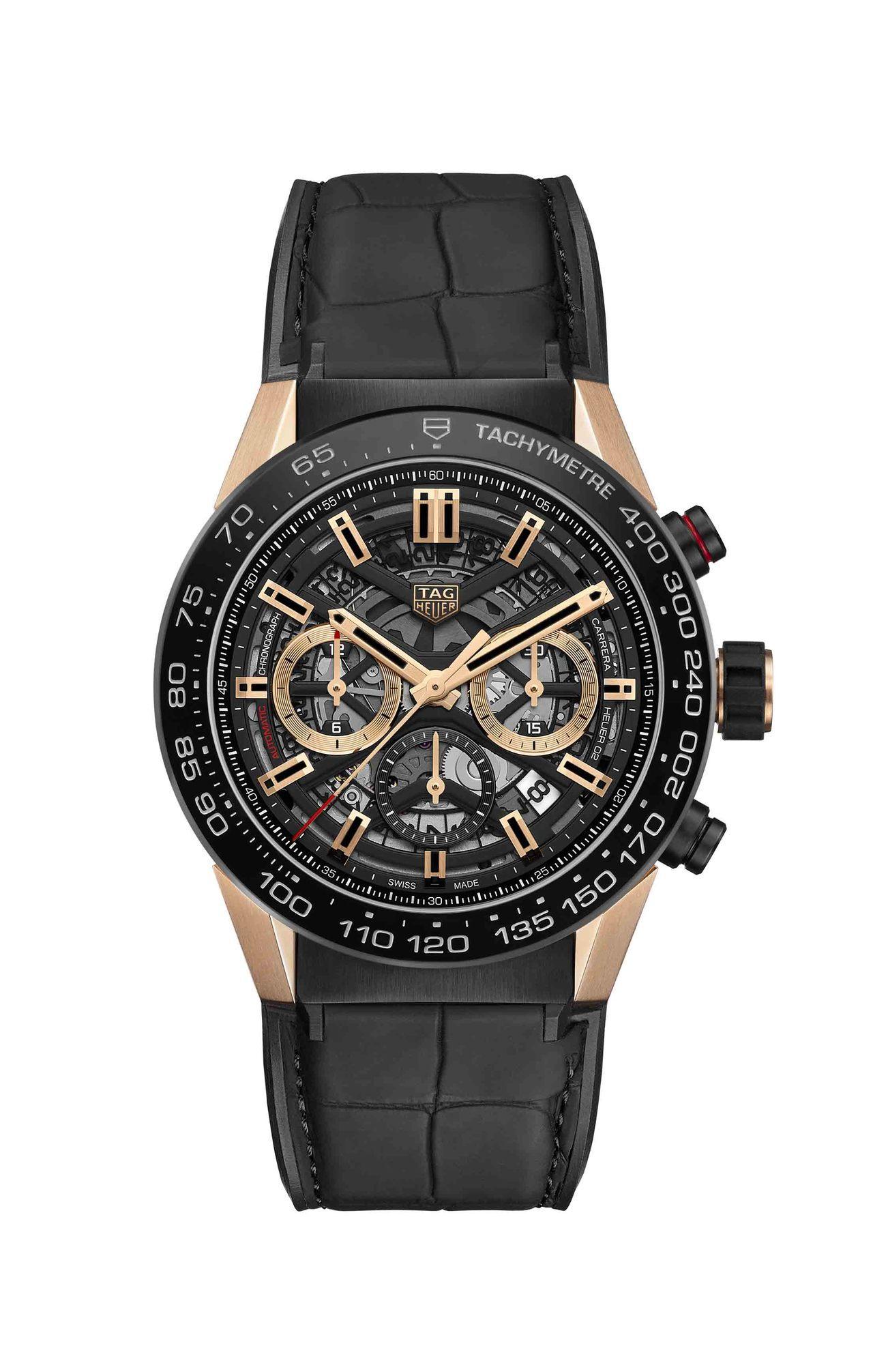 泰格豪雅Carrera Heuer 02計時碼表,黑色PVD不鏽鋼表殼、18K玫...