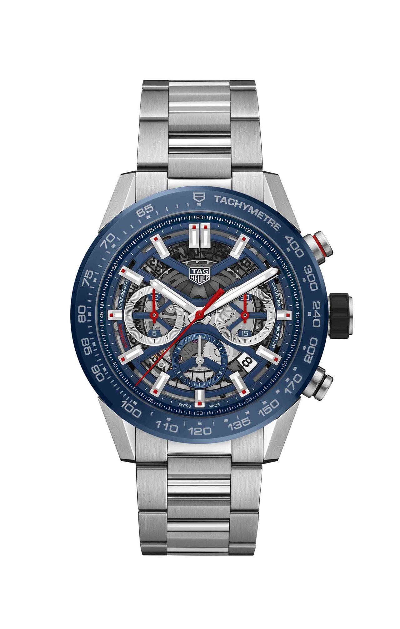泰格豪雅Carrera Heuer 02計時碼表,不鏽鋼表殼、表鍊,搭配藍色陶瓷...