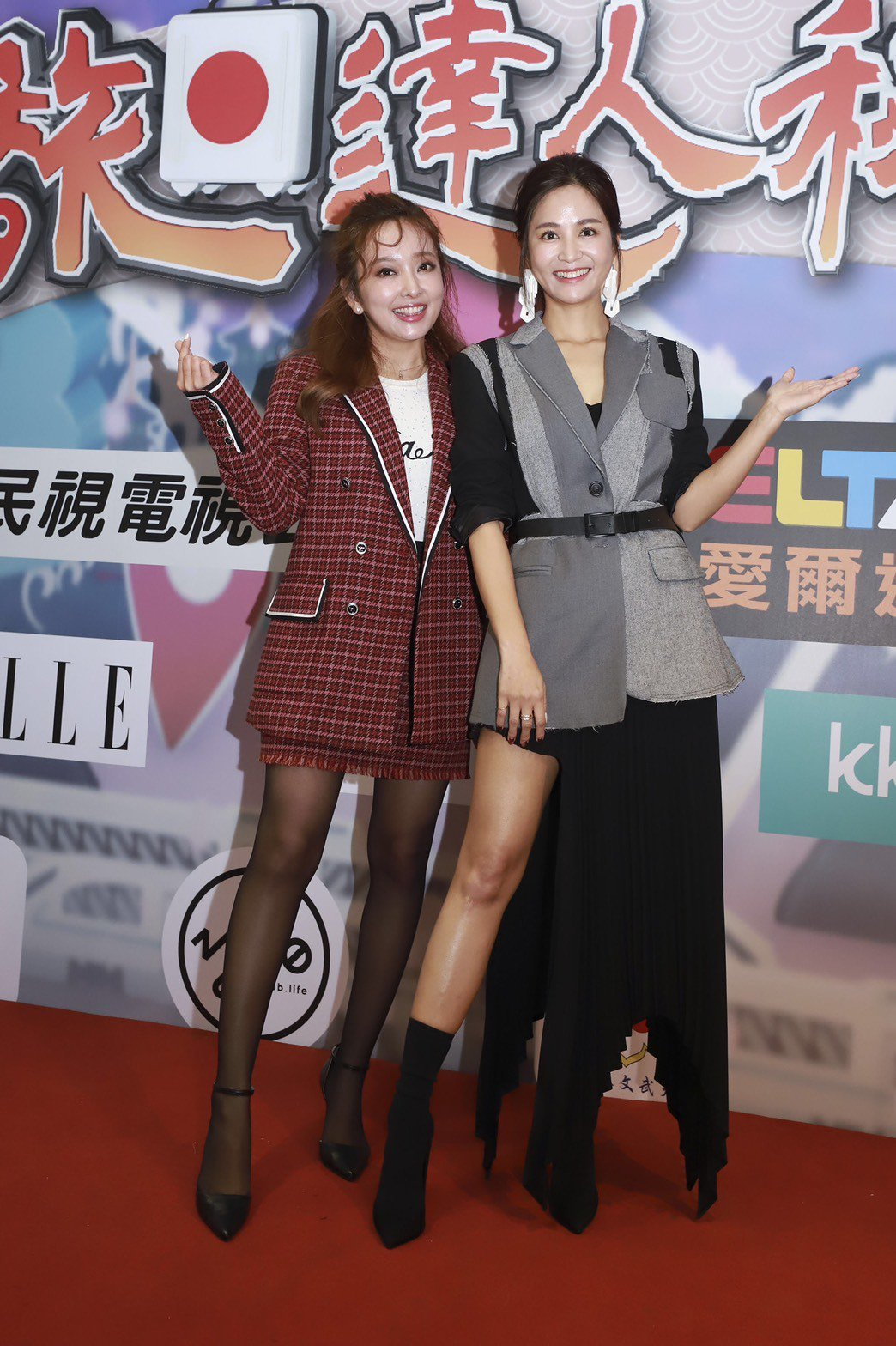 吳怡霈(右)與千田愛紗主持民視「旅日達人秘笈」。圖/民視提供