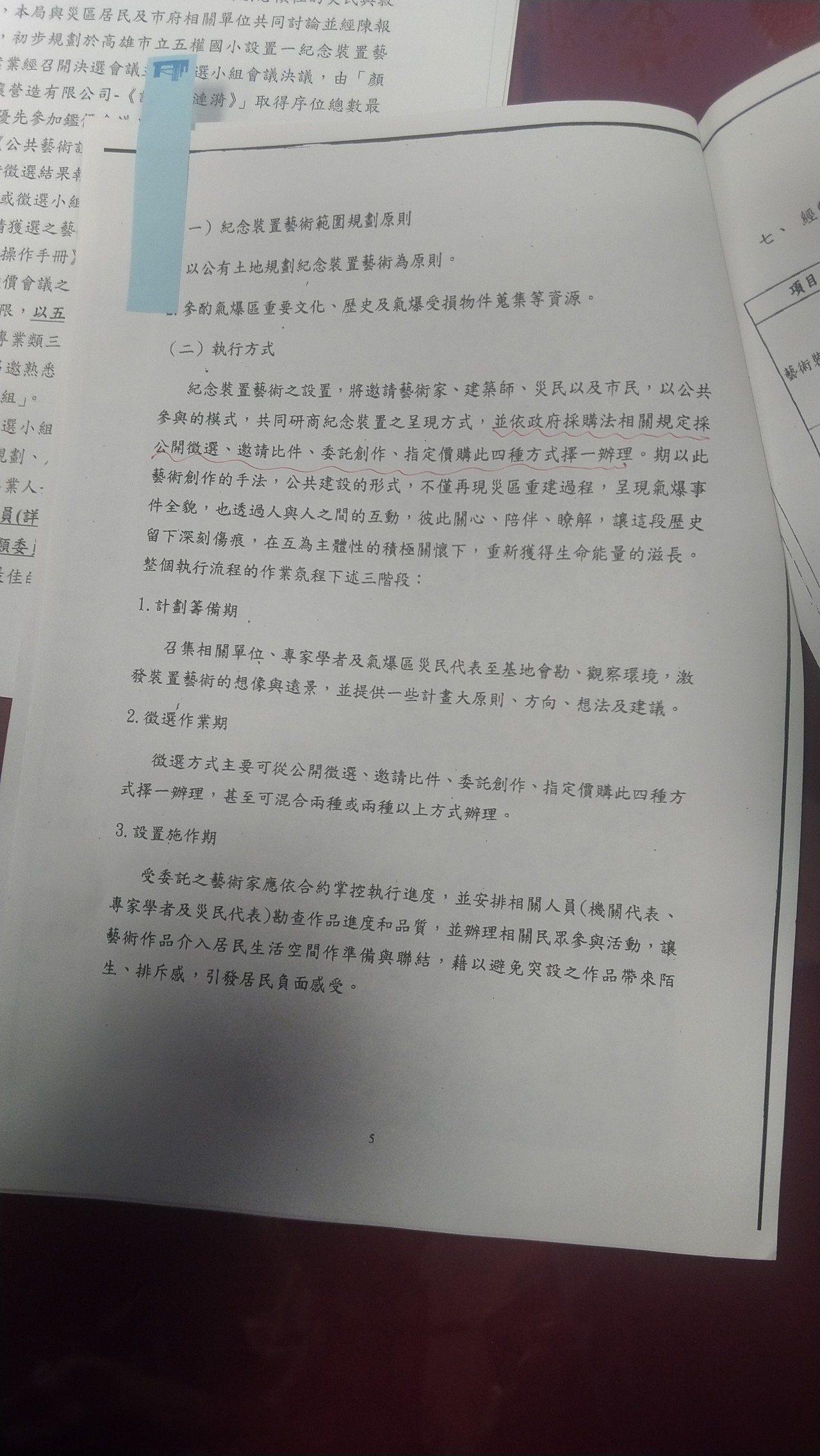 國民黨高市議員陳麗娜說,高雄氣爆裝置藝術應適用政府採購法,文化局也曾有一份公文指...