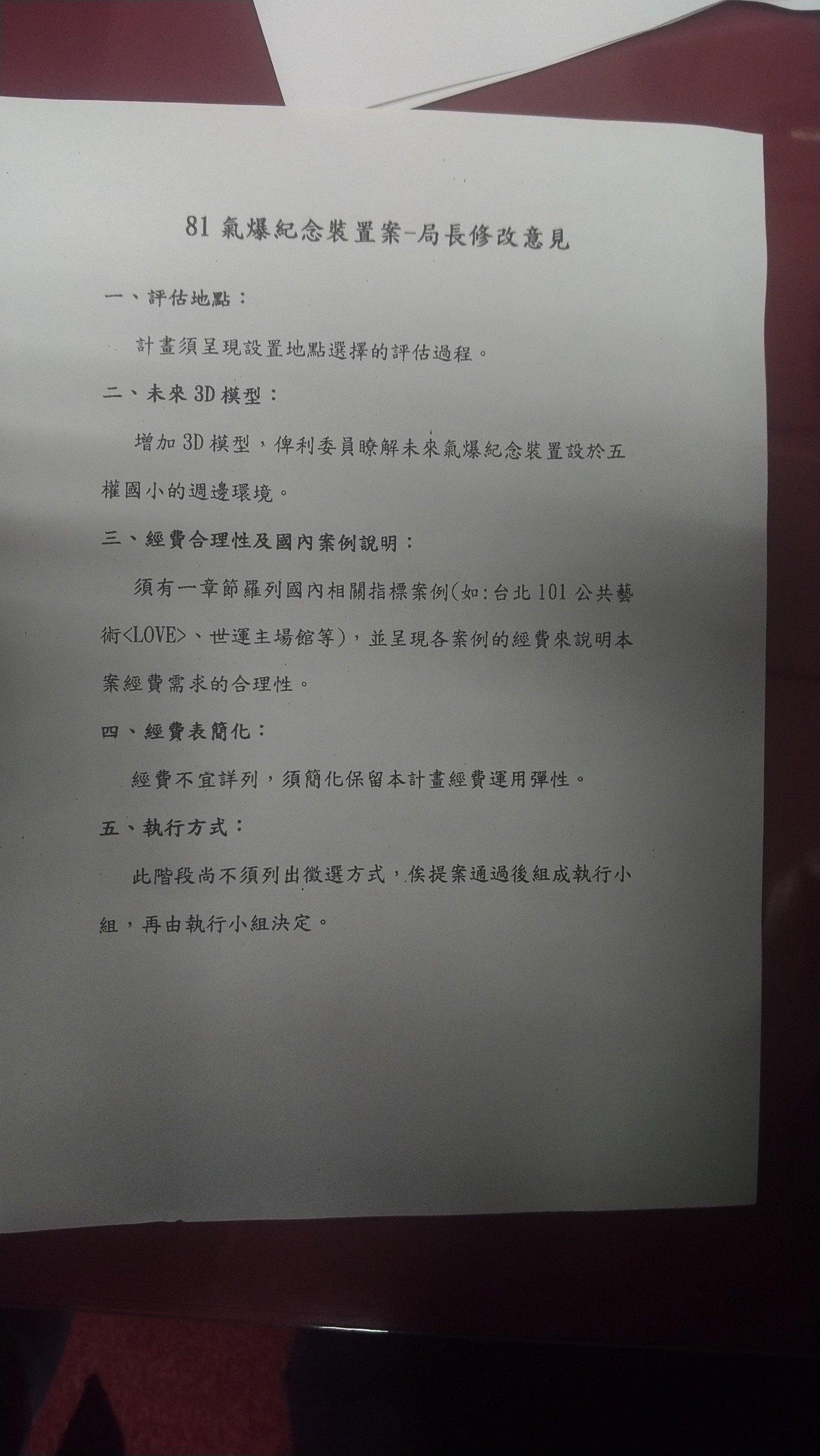 國民黨高市議員陳麗娜指時任文化局長史哲有一份公文「81氣爆紀念裝置案─局長修改意...