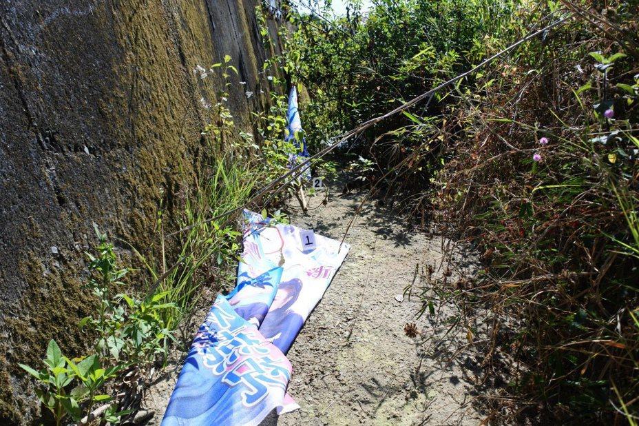 「旗子害我心情不好」,男子沿路拆掉折斷丟棄立委參選人林燕祝27面競選旗幟。圖/警方提供