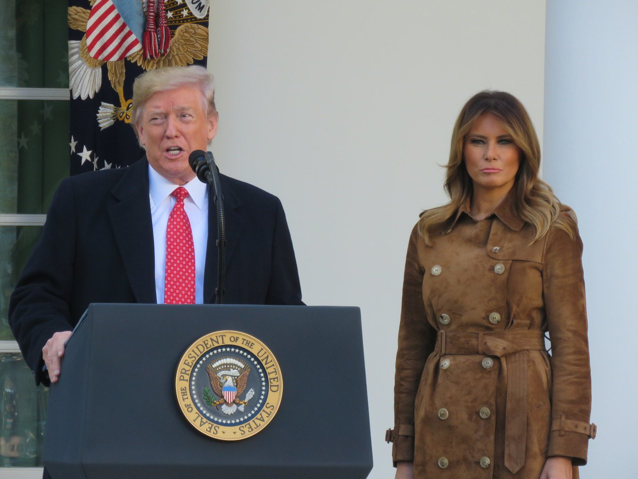 美國總統川普(左)與第一夫人梅蘭妮亞。聯合報系資料照/華盛頓記者張加攝影