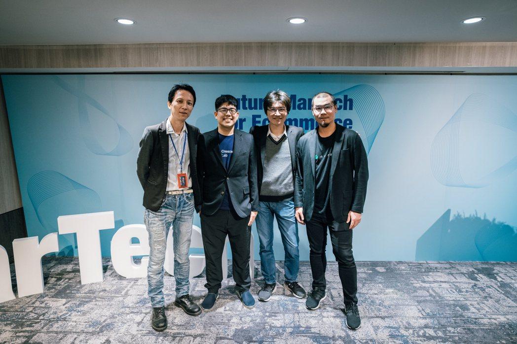 (由左至右)CloudAD 總經理古明和、漸強實驗室執行長薛覲、iKala 共同...
