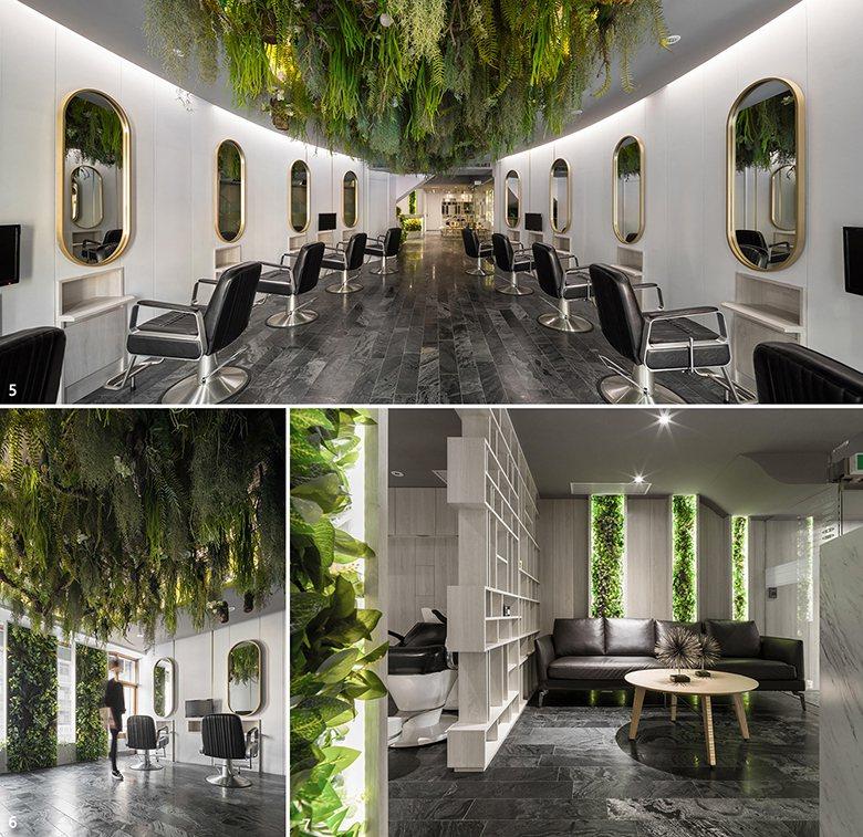 圖1 :剪髮區上方橢圓形的植栽天花板,堪稱全案關鍵的裝置靈魂,在背景光的烘托下,...