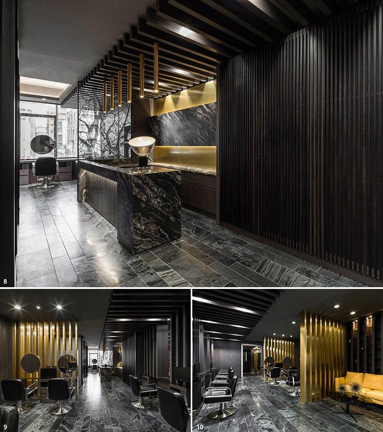 圖1:迎光處以玻璃屏風搭配黑色枝枒圖案,劃分櫃台區與 VIP區,借天然光的穿透上...