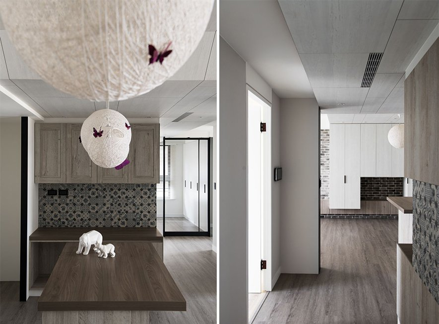 (圖)設計師擷取場域的典雅紫調與鄉村氣息,化為紫蝶棲息的造型吊燈,不慍不火地將浪...