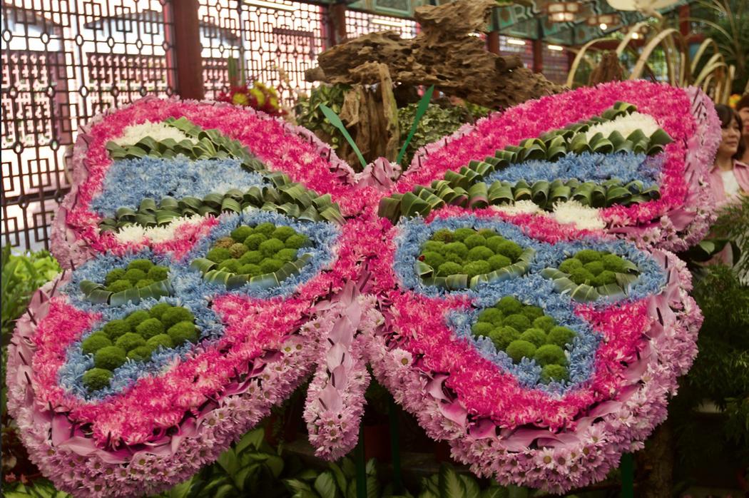 這一朵室內的菊花蝴蝶組合,在2018室內展中,最美的設計