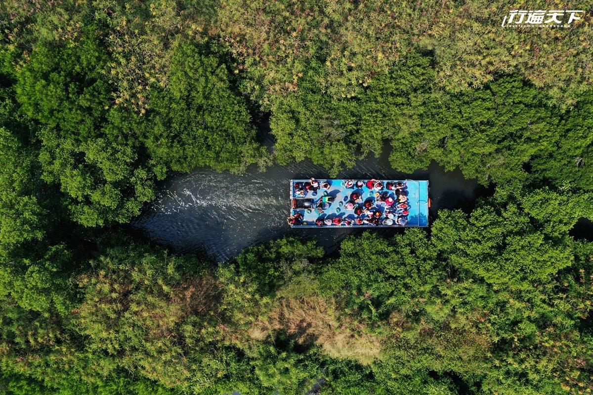 坐竹筏穿梭四草紅樹林間,彷彿進入台版亞馬遜河,從空中鳥瞰,視野獨特。