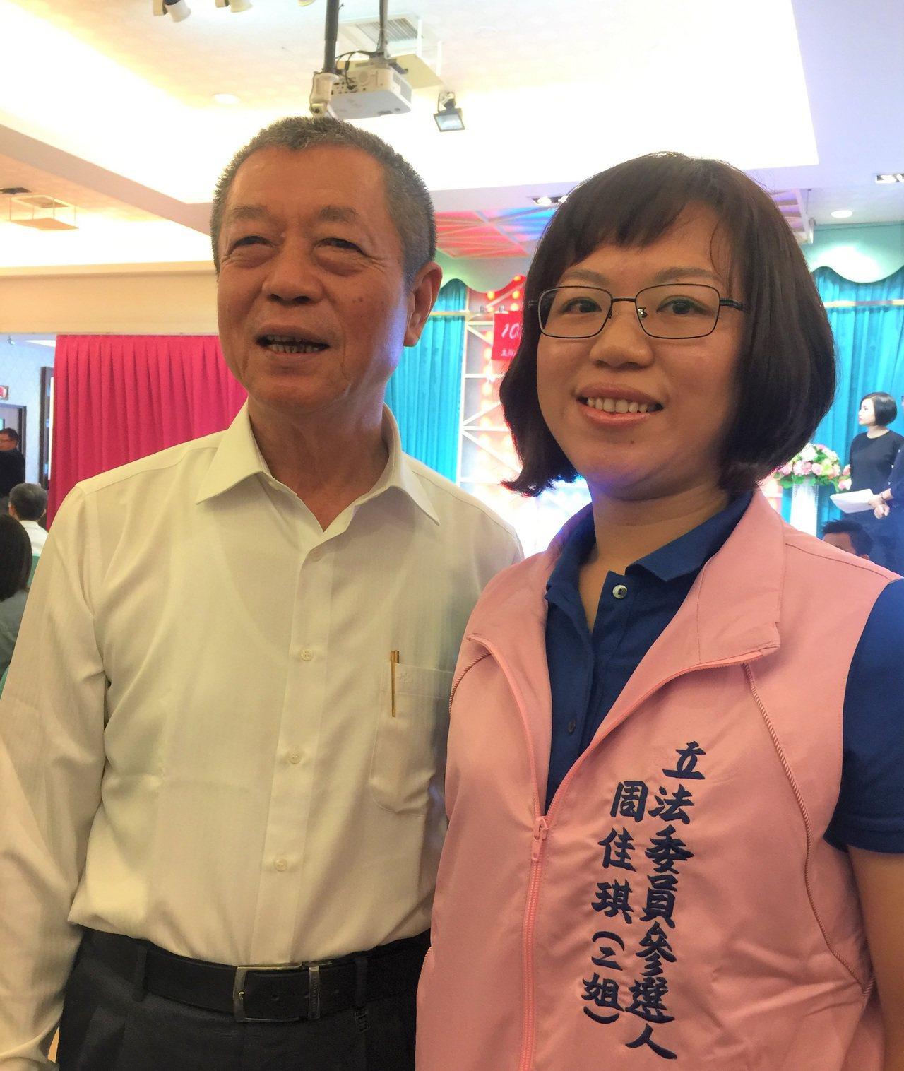 屏東二選區提名的立委參選人周佳琪(右),是屏東縣議長周典論(左)的女兒,蘇震清不...