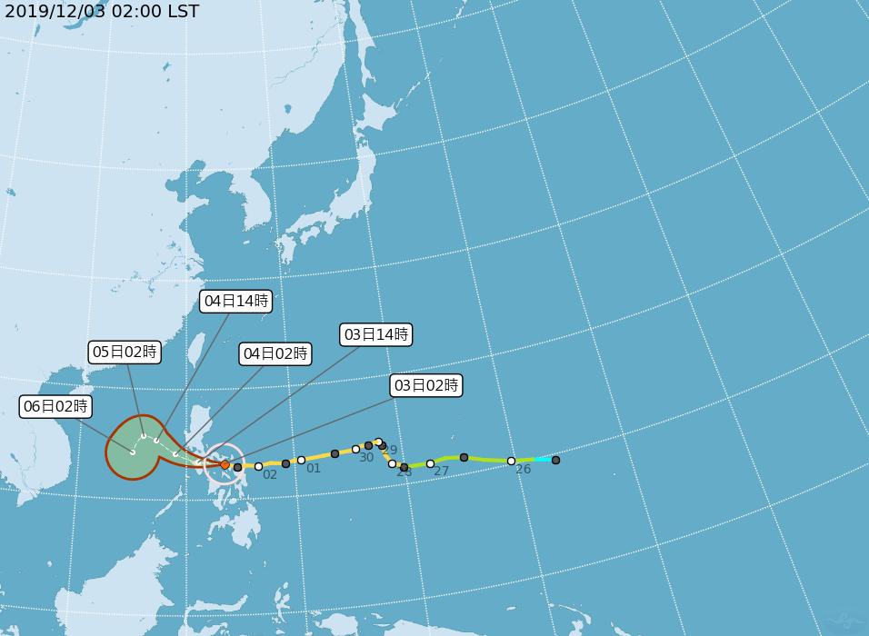 今年第28號颱風北冕的路徑潛勢預報。圖/取自氣象局網站