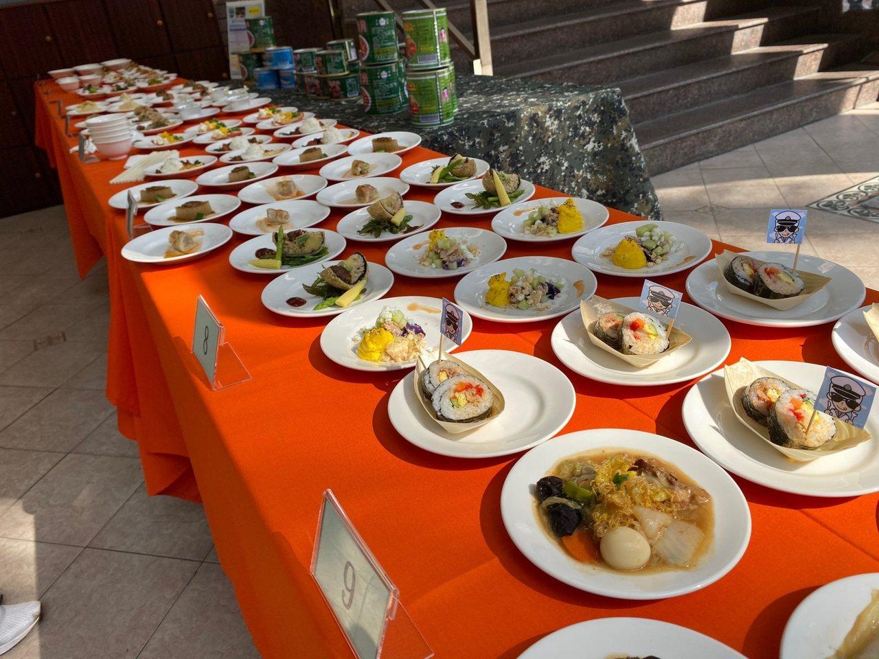 高雄市樹德家商昨天舉辦一場充滿濃濃軍事味的軍民創意料理賽,以國軍罐頭為主角,餐飲...