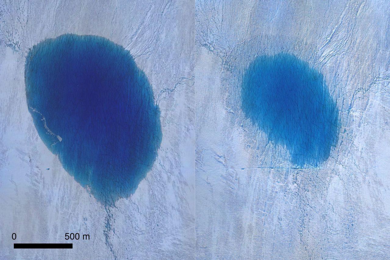 科學家觀察到格陵蘭冰川融化形成的湖泊正在流逝。(法新社)