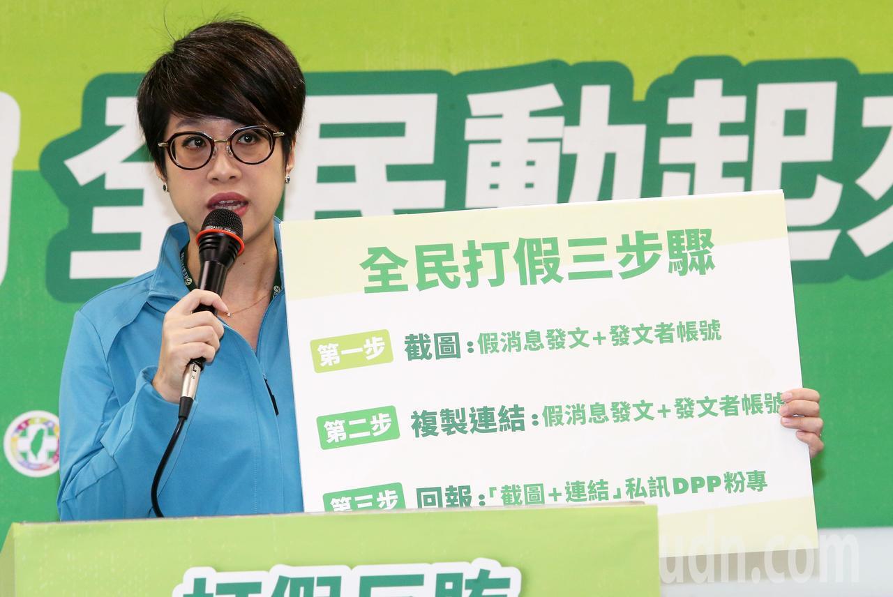 民進黨發言人李晏榕說明「全民打假三步驟」。記者胡經周/攝影