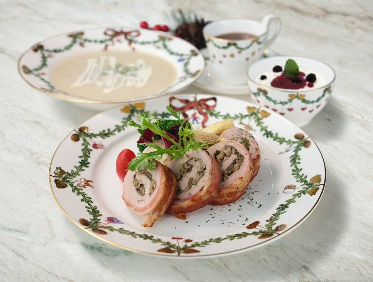 皇家哥本哈根咖啡輕食複合店RC Café ,推出爐烤野菇里肌肉捲、450元。圖/...