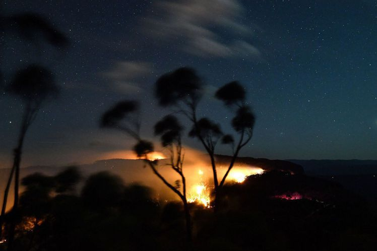 澳洲森林野火燒毀20%的藍山世界遺產區。法新社
