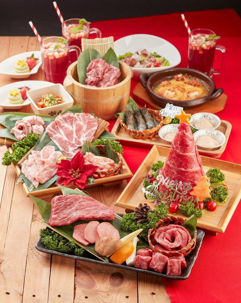 乾杯耶誕跨年套餐,內含有浮誇的燒肉耶誕樹。圖/乾杯提供