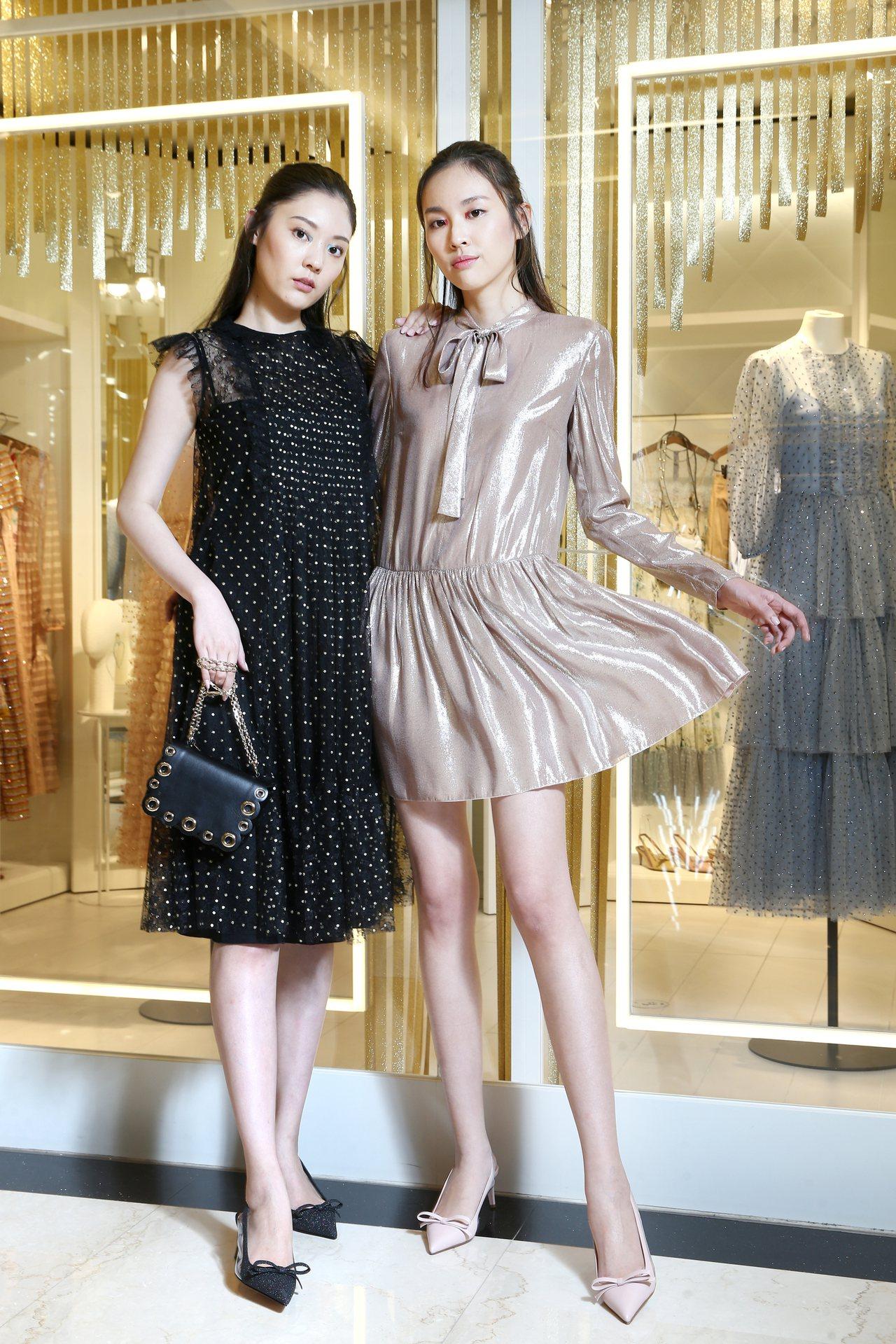 (左)REDValentino金色亮片波點綴飾蕾絲洋裝37,800元,RED(V...
