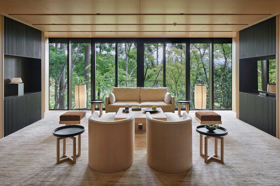 每一間客房,都可以擁有秀麗的森林景觀。圖/安縵京都提供