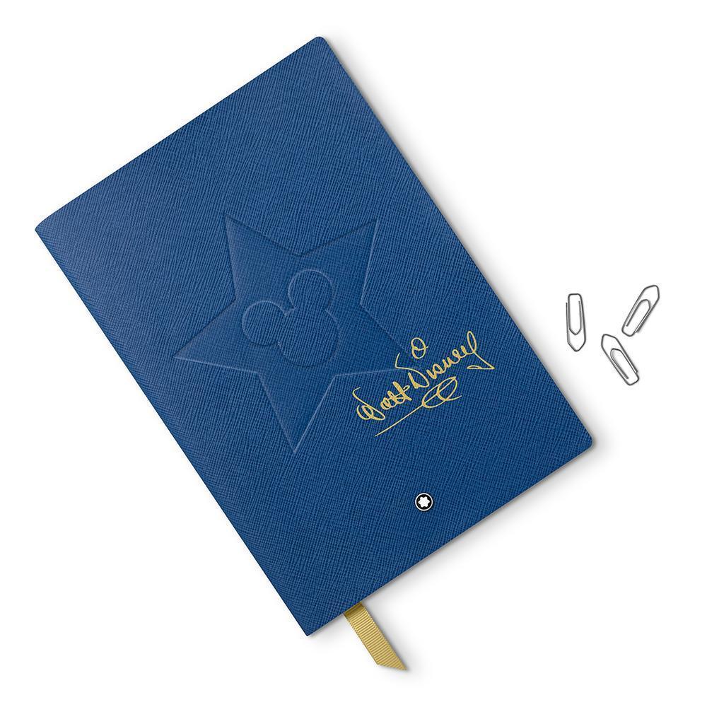 萬寶龍華特迪士尼特別款筆記本,藍色封面壓印有米奇圖樣與迪士尼先生簽名,筆記本使用...