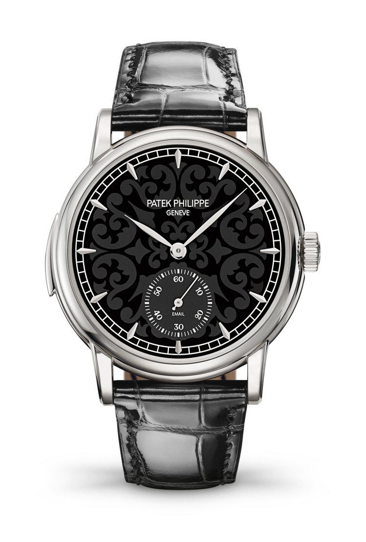 百達翡麗,Ref.5078G-010黑色琺瑯三問腕表,具備時、分、小秒針與三問報...