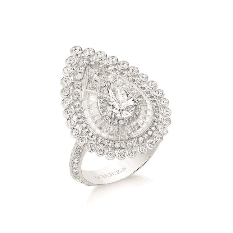 BOUHERON,頂級珠寶Goutte系列指環,白金750材質,鑲嵌1顆梨形切割...