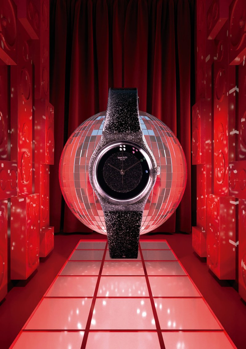 SWATCH「黑色耶誕」SCINTILLANTE腕表,限量5,005只,3,150元。圖/SWATCH提供