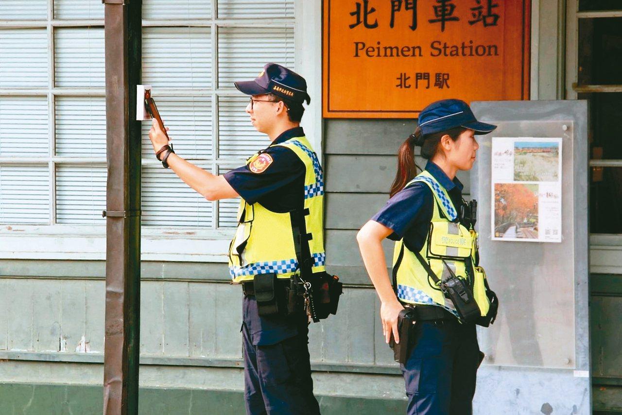 「嘉e巡簽 智慧巡邏箱」數位簽到系統,員警實際應用後認為簽到更快速方便。 記者卜...