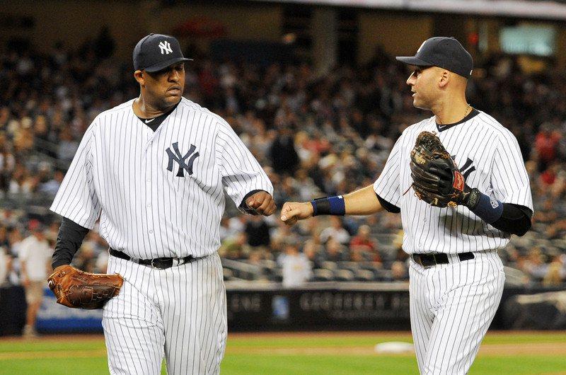 來到洋基成為鎂光燈焦點,沙胖(左)透露當時隊長基特(右)就告訴他別再看ESPN,...