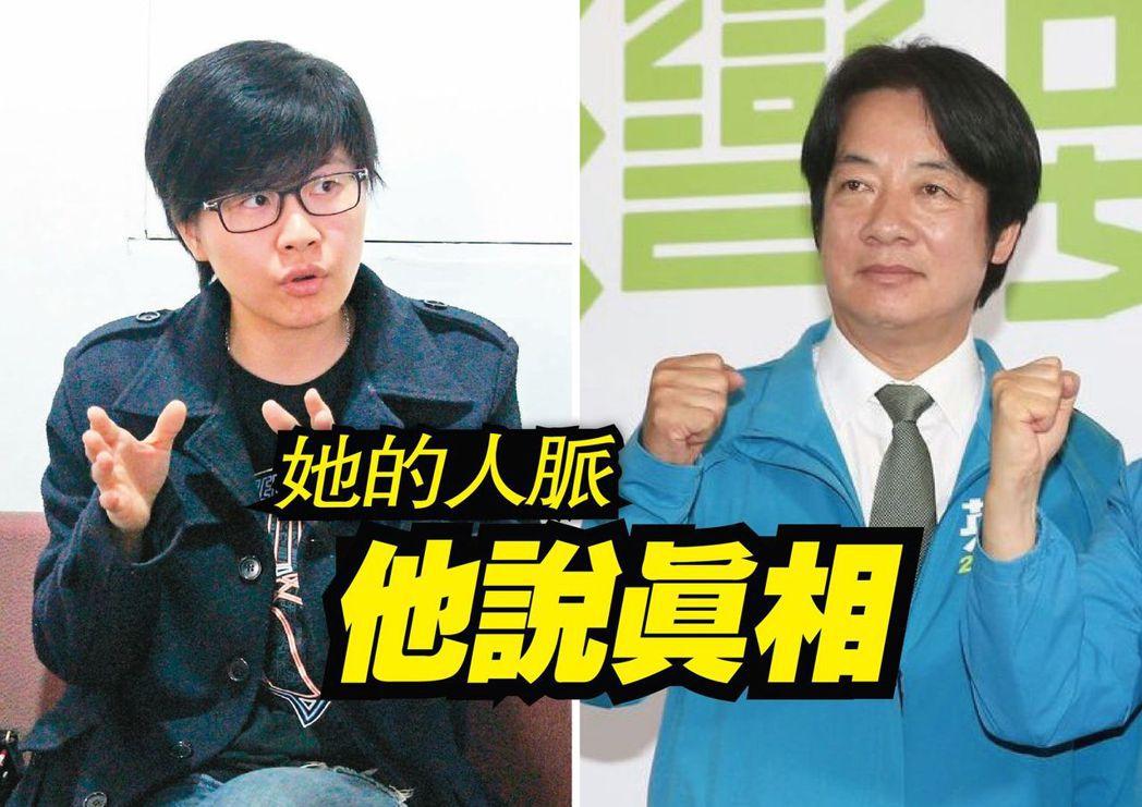 「卡神」楊蕙如(左)「賴神」賴清德。 圖/聯合報系資料照片