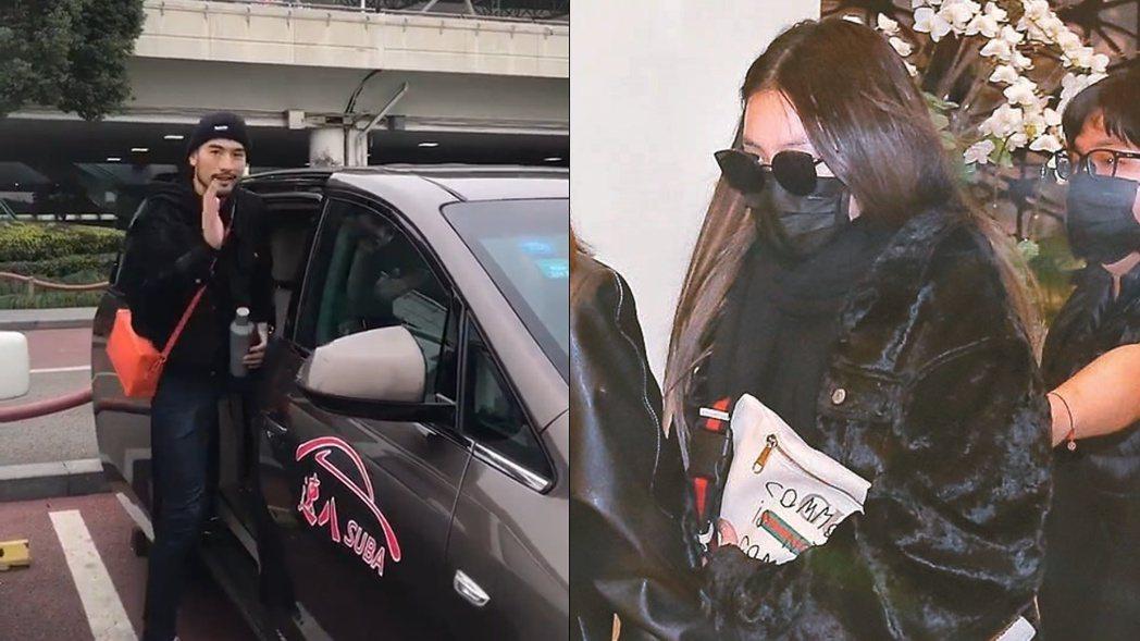 女友穿著高以翔生前穿得黑色外套。 左圖/擷自微博,右圖/記者曾原信攝影