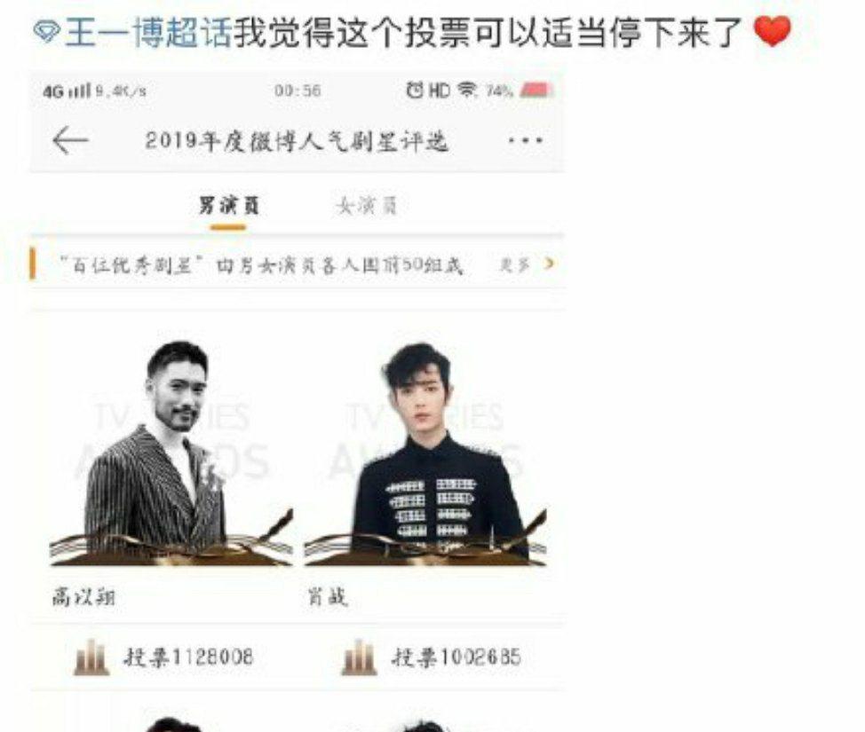 王一博粉絲發起停止投票活動。 圖/擷自微博