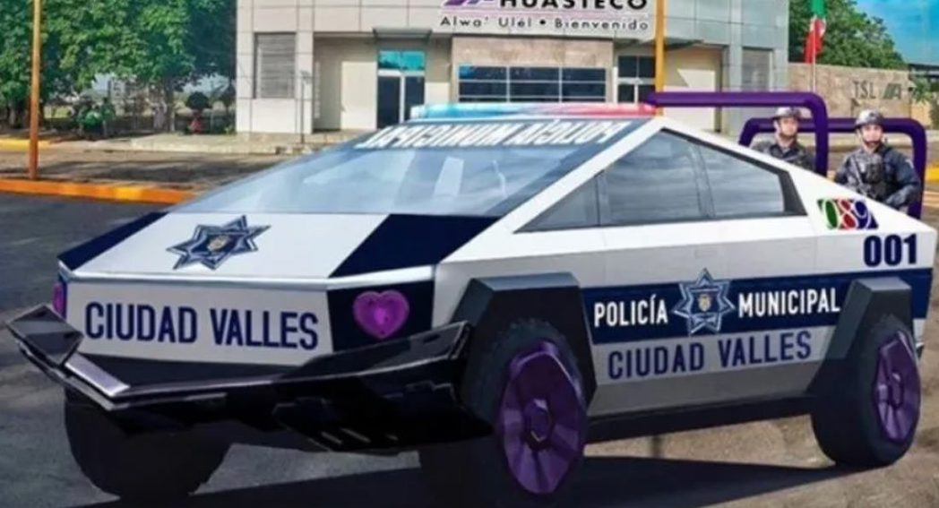 墨西哥Ciudad Valles市Cybertruck警車預想圖。 摘自Cars...