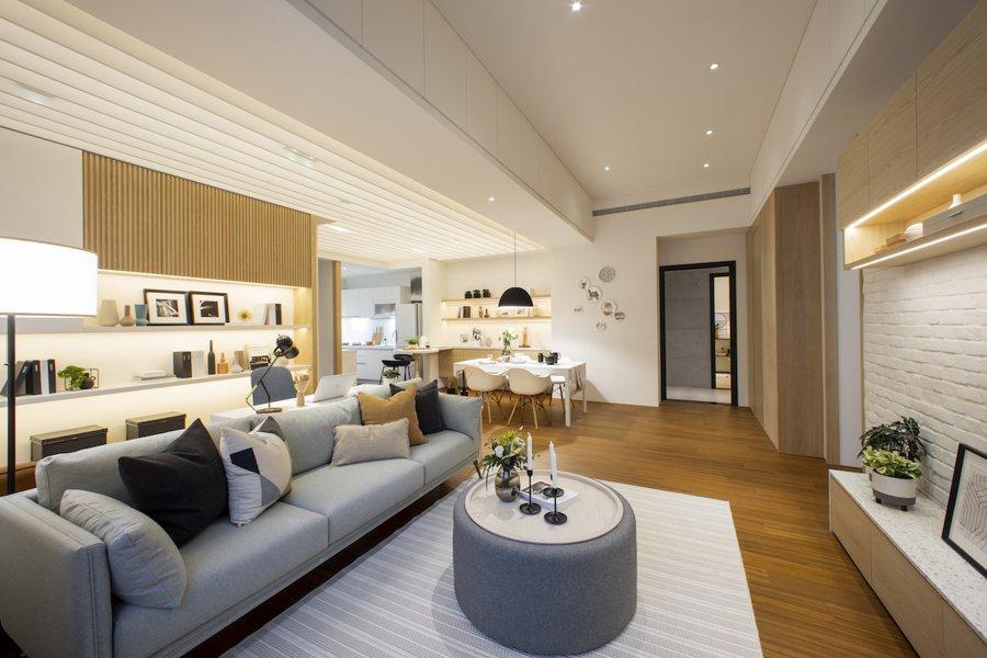 「芬兰特区」格局方正、挑高3米6,31%超低公设比,双面採光,大尺度客餐厅,室内...