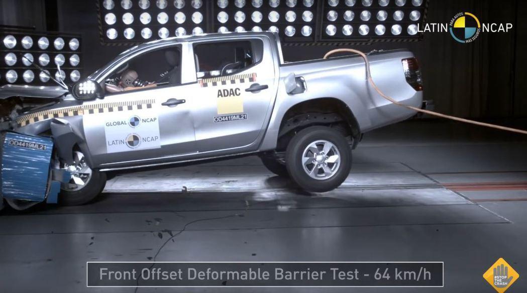 沒有安全氣囊的Mitsubishi L200在NCAP的表現相當糟糕。 摘自La...