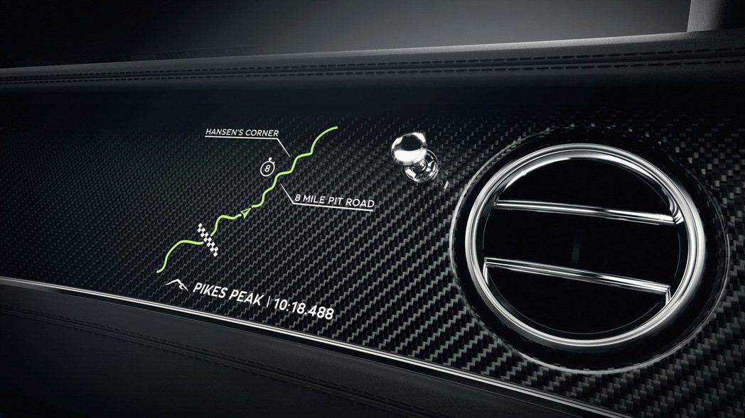 在副駕駛座前方標有派克峰的攻頂路線。 圖/Bentley提供