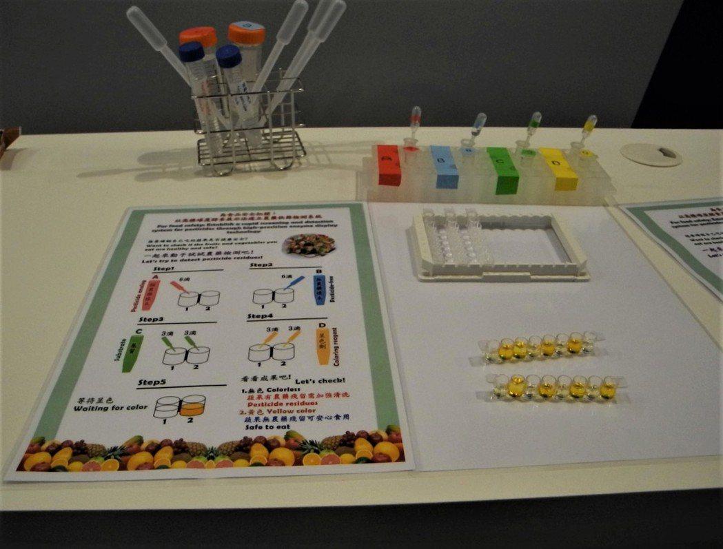 現場展示農藥篩檢系統,以顏色即可判別農藥殘留程度,民眾也可以輕鬆操作。 王宇昕/...
