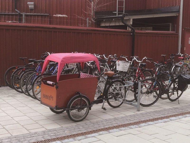 瑞典自行車文化盛行,小朋友也可坐在特別車廂和大人一起兜風。