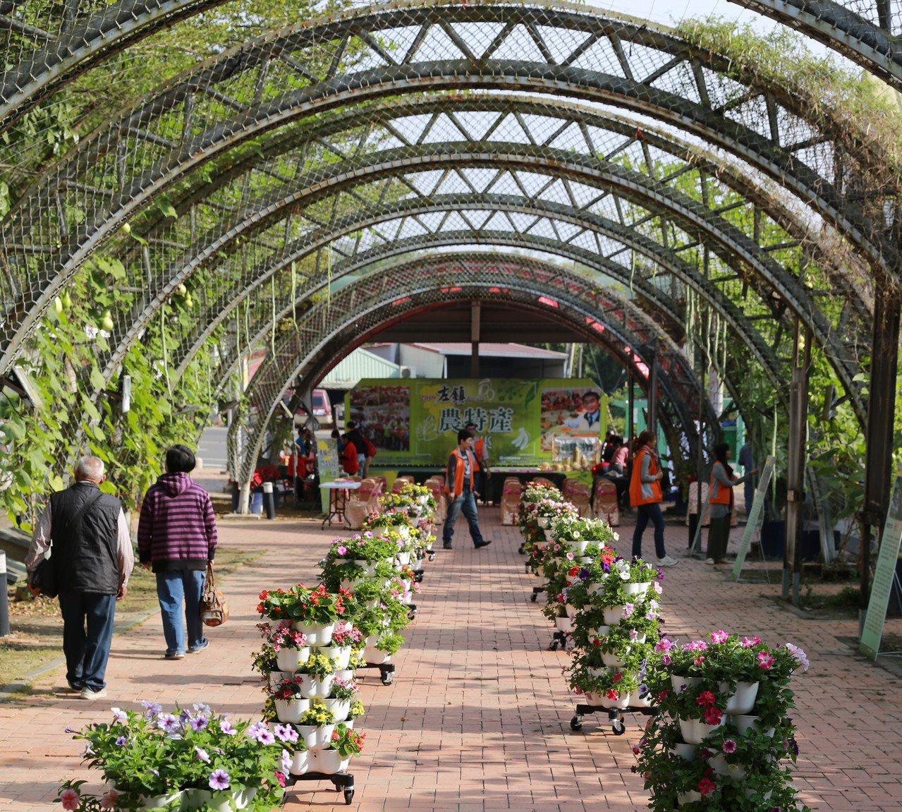 台南市左鎮區推出瓜棚下農民市集,拱門上栽種各式瓜果等相當吸睛。圖/左鎮區公所提供
