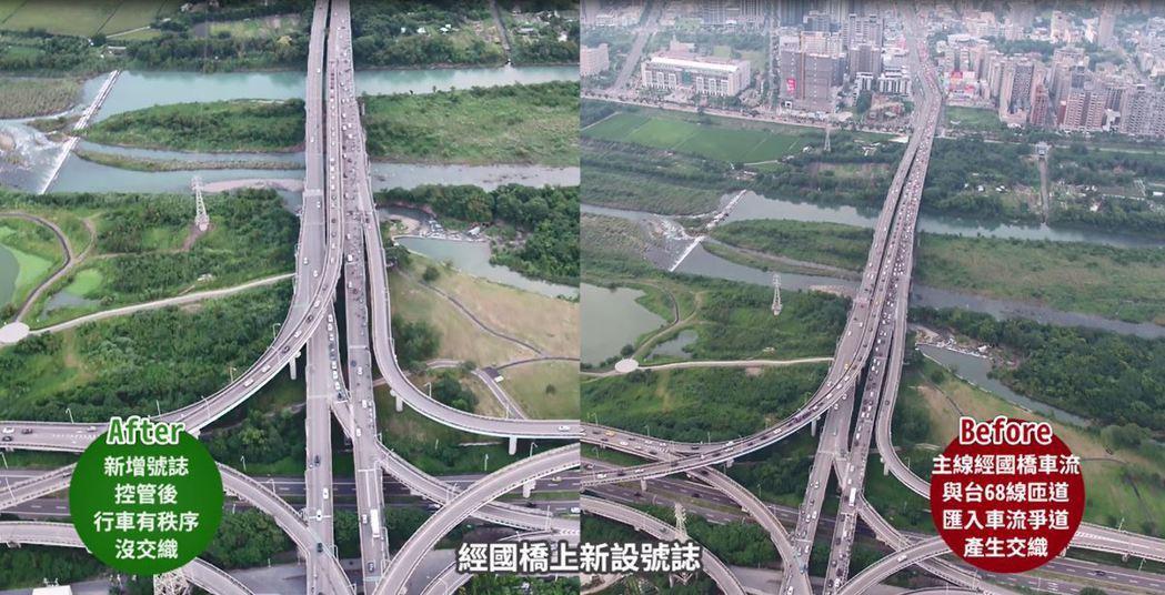 新竹縣府指出,經國橋上新設號誌控管後,讓行車有秩序、沒有交織。圖/縣府提供
